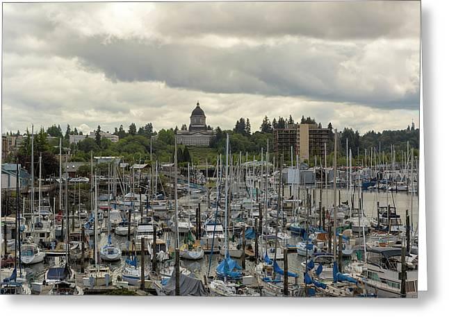 Marina In Olympia Washington Waterfront Moorage Greeting Card