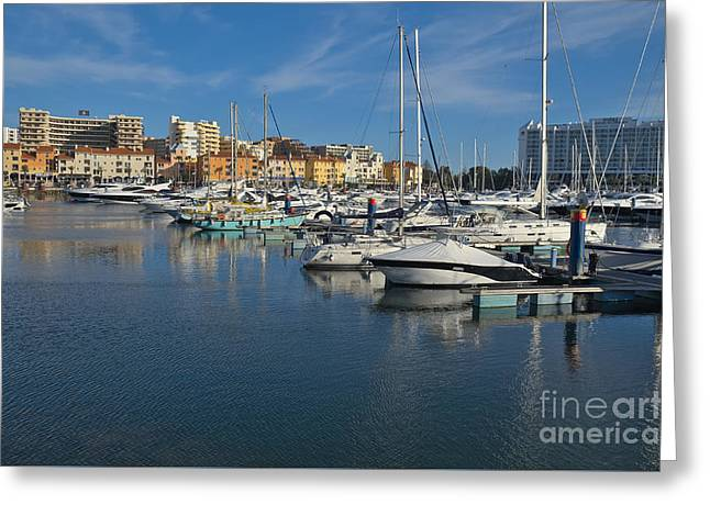Marina Of Vilamoura At Afternoon Greeting Card by Angelo DeVal