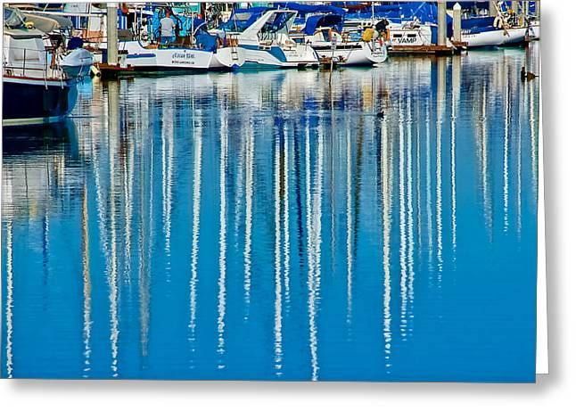 Marina Reflections At Moss Landing, California Greeting Card