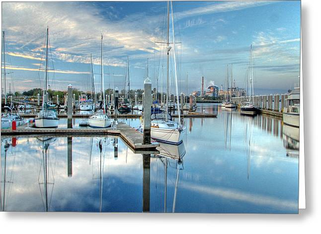 Greeting Card featuring the photograph Marina Sunrise by Farol Tomson