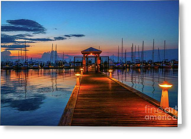 Marina Sunrise Greeting Card by Tom Claud