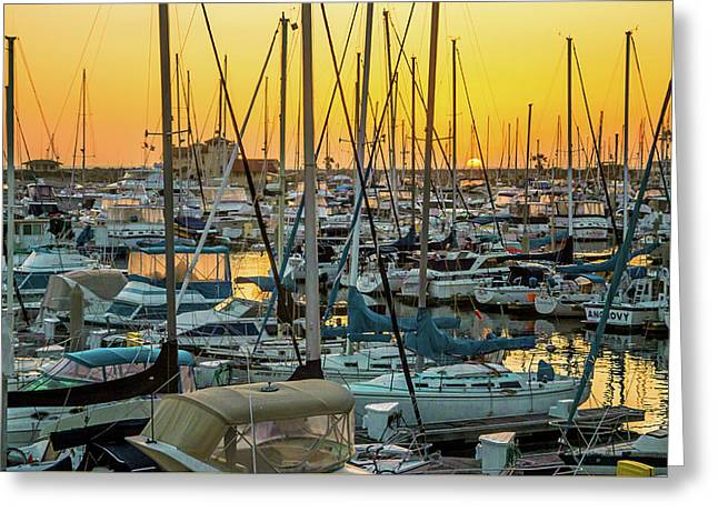Marina Sunset Greeting Card by April Reppucci