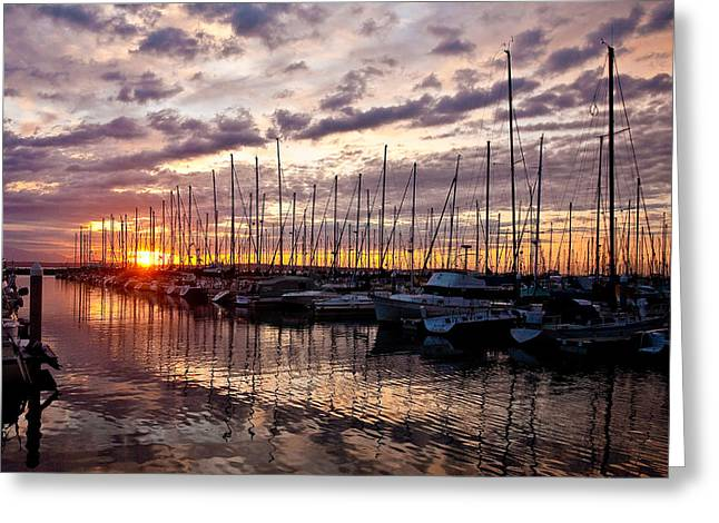 Marina Sunset Greeting Card by Mike Reid