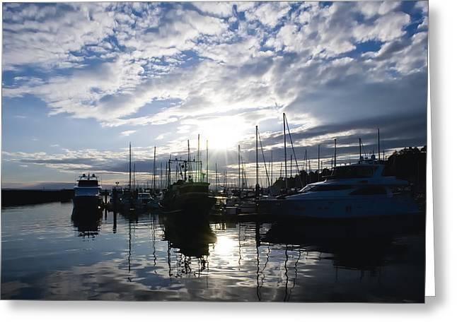 Marina Sunset Greeting Card by Tom Dowd