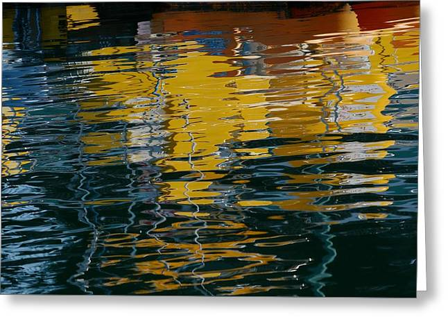 Marina Water Abstract 2 Greeting Card by Fraida Gutovich