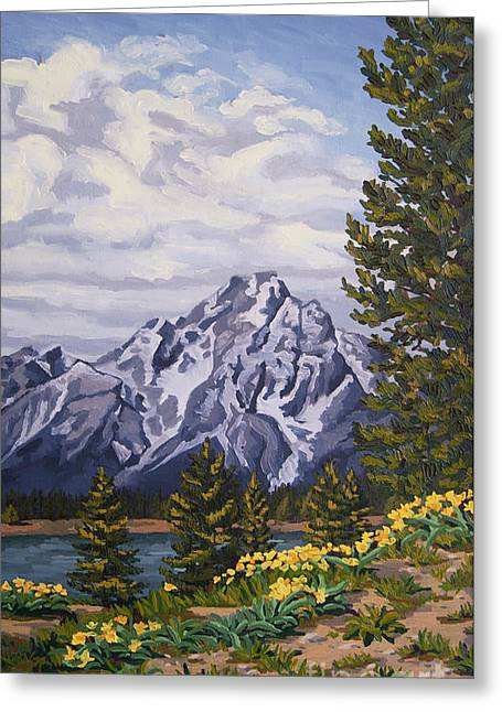 Greeting Card featuring the painting Marina's Edge, Jenny Lake, Grand Tetons by Erin Fickert-Rowland