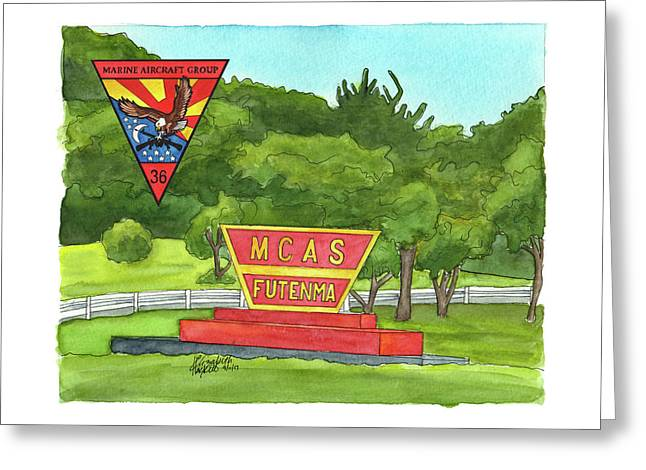 Greeting Card featuring the painting Marine Aircraft Group At Mcas Futenma by Betsy Hackett