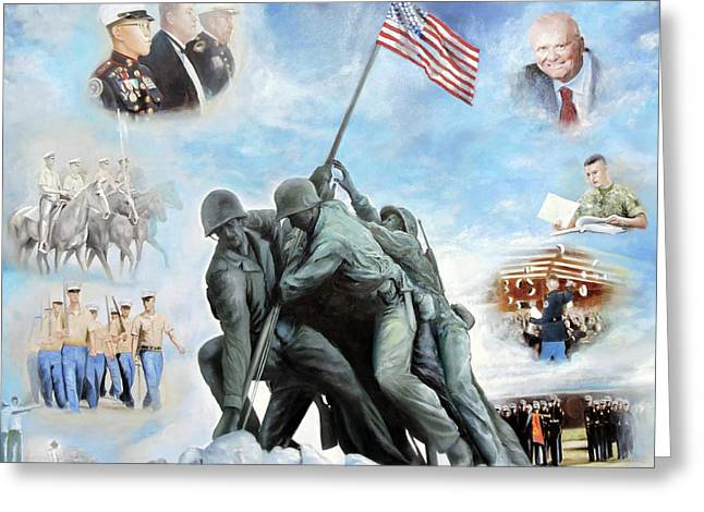 Marine Corps Art Academy Commemoration Oil Painting By Todd Krasovetz Greeting Card by Todd Krasovetz