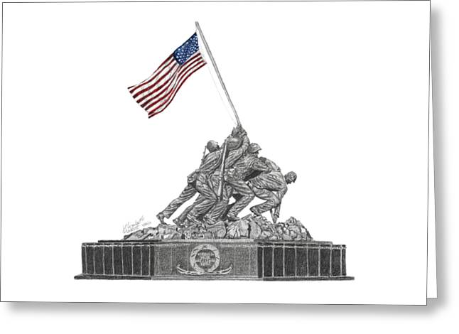 Greeting Card featuring the drawing Marine Corps War Memorial - Iwo Jima by Betsy Hackett