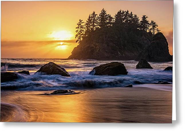 Greeting Card featuring the photograph Marine Layer Sunset At Trinidad, California by John Hight