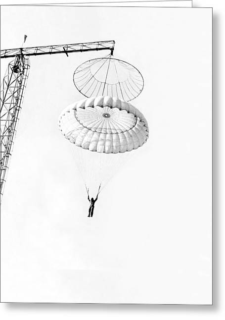 Marine Parachute Training Greeting Card by Underwood Archives