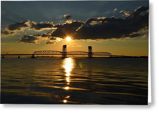 Breezy Greeting Cards - Marine Park Gil Hodges Bridge Greeting Card by Maureen E Ritter