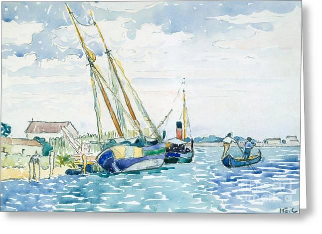 Marine Scene, Boats Near Venice, 1903  Greeting Card