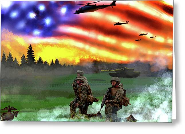 Marines Greeting Card by Josh Burns