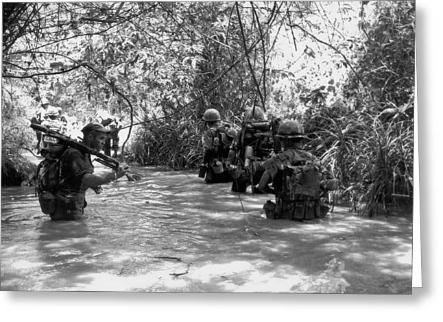 Marines Use Stream For Trail Greeting Card by Underwood Archives