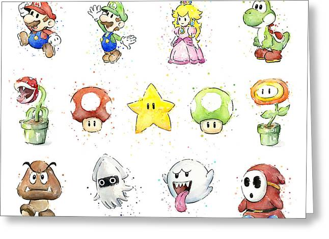 Mario Characters In Watercolor Greeting Card