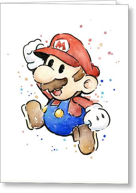 Mario Watercolor Fan Art Greeting Card