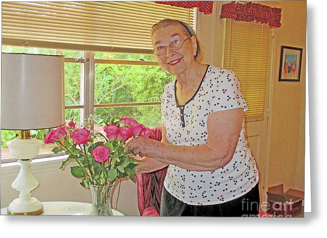 Marion Loves Roses Greeting Card by Fred Jinkins