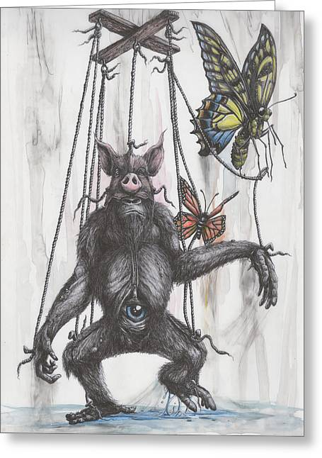 Marionette Monarchy Greeting Card by Tai Taeoalii