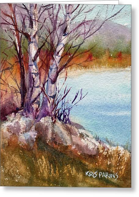 Mari's Birches Greeting Card by Kris Parins