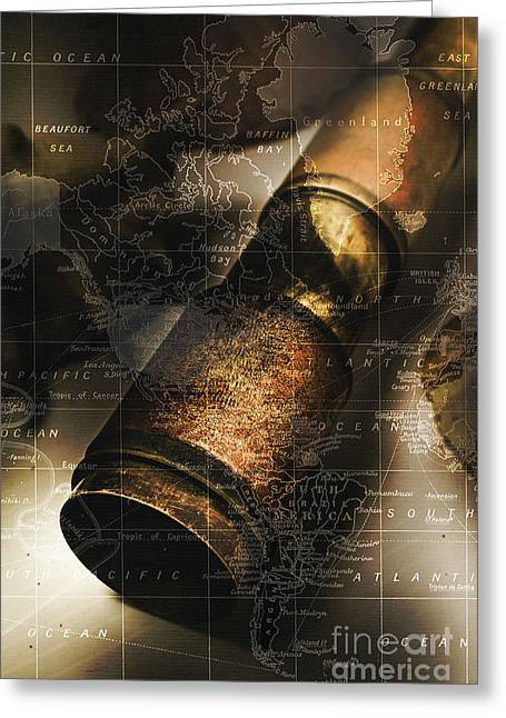 Maritime Navigation Telescope With Map Overlay Greeting Card by Jorgo Photography - Wall Art Gallery