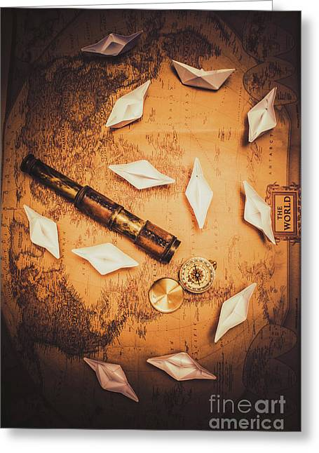 Maritime Origami Ships On Antique Map Greeting Card by Jorgo Photography - Wall Art Gallery