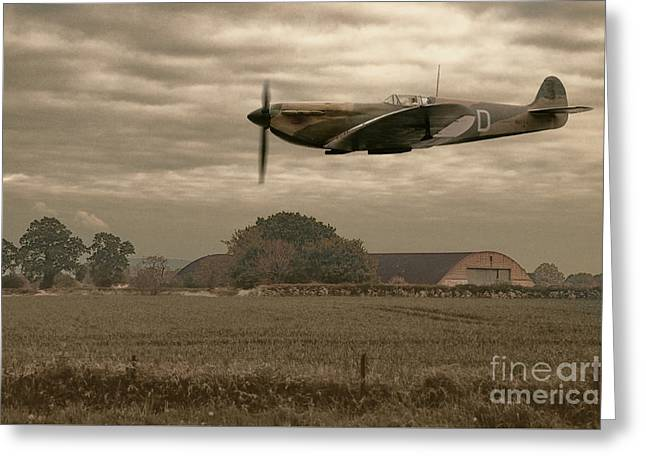 Mark 1 Supermarine Spitfire Flying Past Hanger Greeting Card by Amanda Elwell