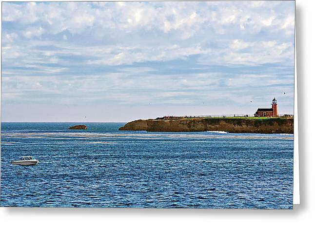 Steamer Lane Greeting Cards - Mark Abbot Memorial Lighthouse - Lighthouse on the beach - Santa Cruz CA USA Greeting Card by Christine Till