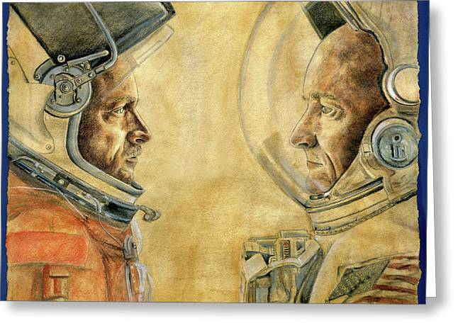 Mark And Scott Kelly Greeting Card by Michelle Rouch