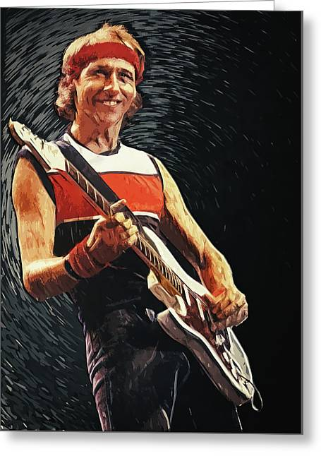 Greeting Card featuring the painting Mark Knopfler by Taylan Apukovska