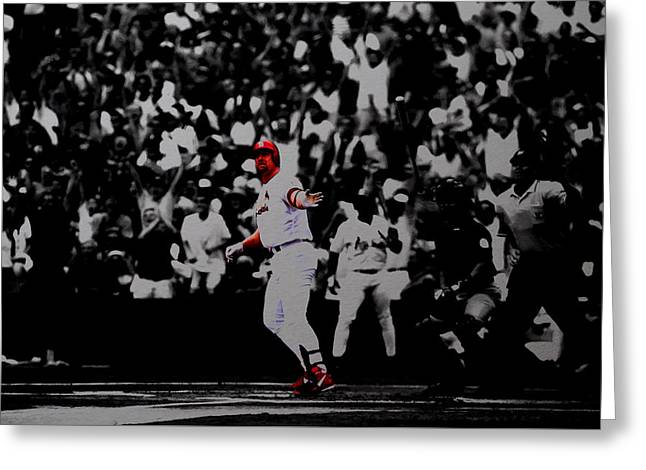 Mark Mcgwire Its Outta Here Greeting Card by Brian Reaves