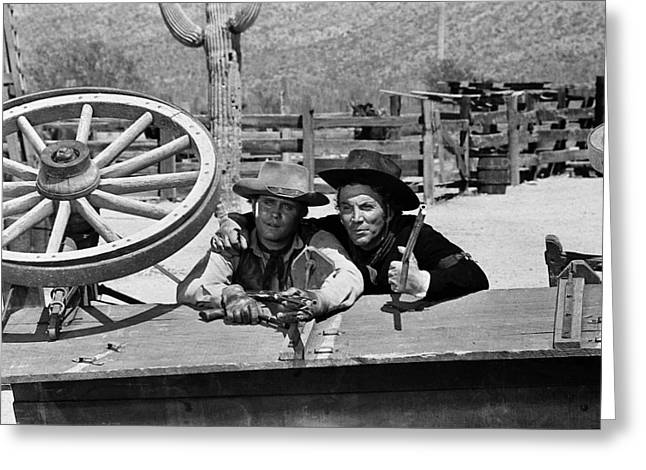 Mark Slade And Cameron Mitchell The High Chaparral Set Old Tucson Arizona 1969 Greeting Card