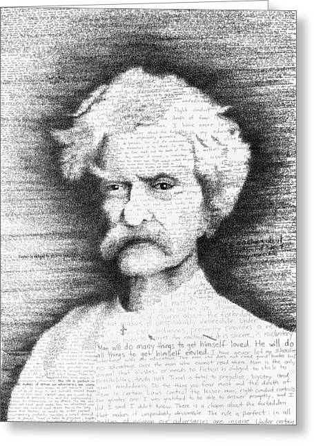 Mark Twain In His Own Words Greeting Card by Phil Vance