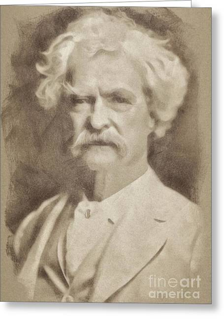 Mark Twain, Literary Legend By John Springfield Greeting Card
