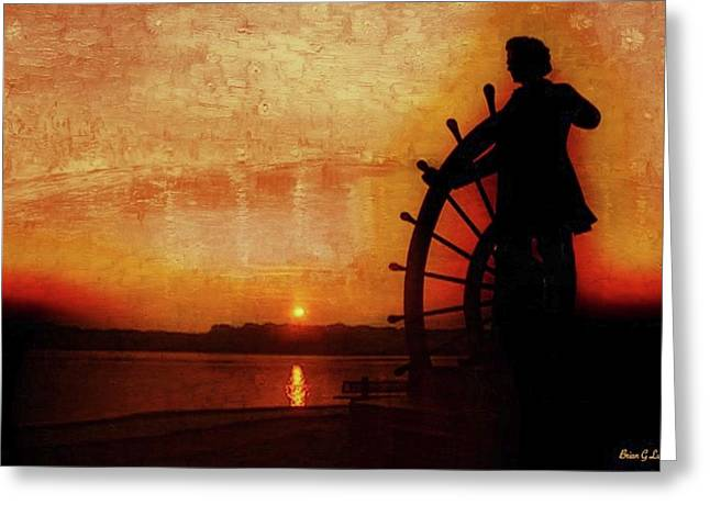 Mark Twain - The River Pilot Greeting Card by Brian Lukas