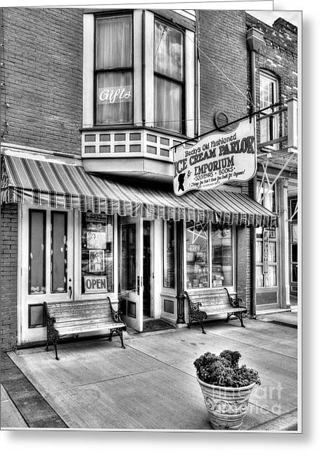 Mark Twain's Town 2 Bw Greeting Card by Mel Steinhauer