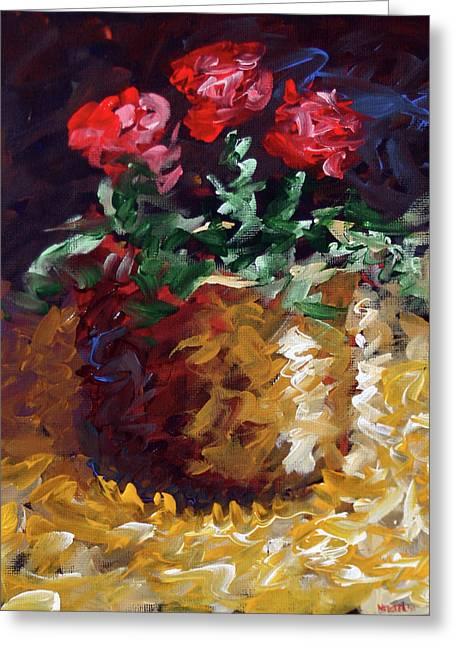 Greeting Card featuring the painting Mark Webster - Abstract Electric Roses Acrylic Still Life Painting by Mark Webster