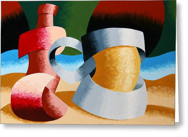 Mark Webster - Abstract Futurist Beer Mug And Bottle Greeting Card