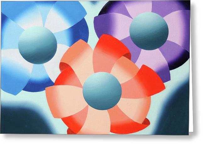Greeting Card featuring the painting Mark Webster - Abstract Futurist Flowers 2 Oil Painting  by Mark Webster