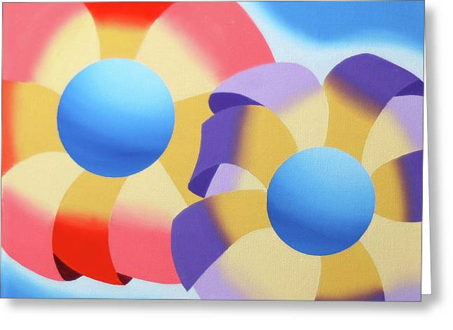 Mark Webster - Abstract Futurist Flowers Oil Painting Greeting Card by Mark Webster