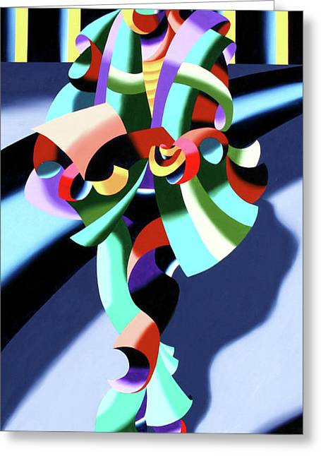Mark Webster - Abstract Futurist Modern Woman In Tokyo Greeting Card by Mark Webster