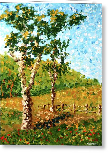 Fall Dusk Greeting Cards - Mark Webster - Abstract Tree Landscape Acrylic Painting Greeting Card by Mark Webster