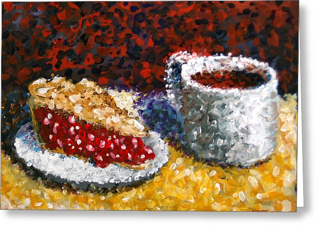 Mark Webster - Impressionist Cherry Pie With Coffee Acrylic Still Life Painting Greeting Card