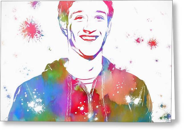 Mark Zuckerberg Paint Splatter Greeting Card by Dan Sproul