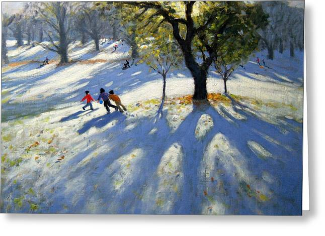 Markeaton Park Early Snow Greeting Card by Andrew Macara