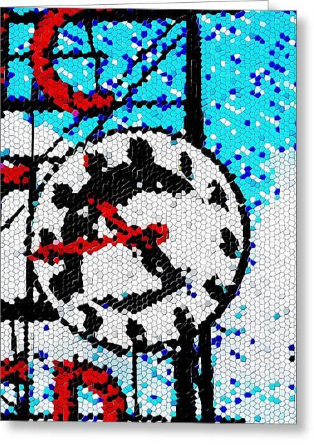 Market Clock Mosaic Greeting Card by Tim Allen