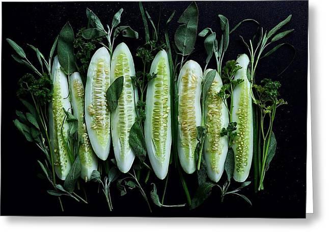 Market Cucumbers Greeting Card
