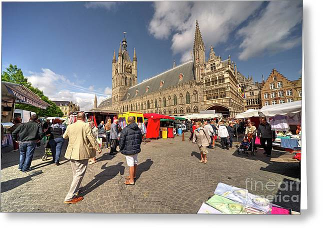 Market Day At Ypres  Greeting Card by Rob Hawkins