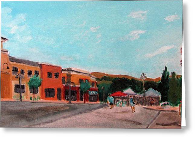 Greeting Card featuring the painting Market Day by Linda Feinberg