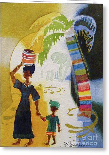 Market Day Greeting Card by Marilyn Jacobson